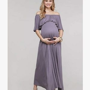 Off the Shoulder Purple Maternity Dress